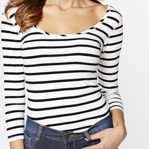 Dynamite Striped Ballet Neck 3/4 Sleeve Tee